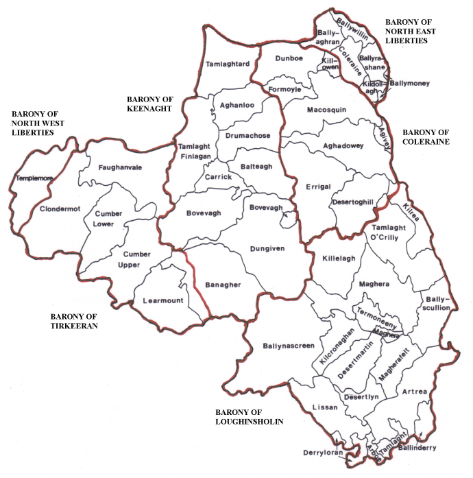 Map of the Baronies and Parishes in County Londonderry